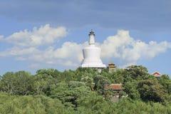 White Tibetan Stupa at Beihai Park, Beijing, China Stock Photo