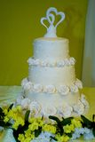 White Tiered Cake with Roses Royalty Free Stock Photography