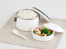 Tiffin carrier with rice and fried shrimps and bloccori Stock Photos
