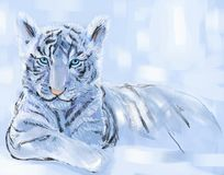 White tiger. Year of white tiger. Eastern calendar. Digital pastel royalty free illustration