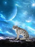 White Tiger, Alien Planet, Nature, Wildlife. A white tiger looks at an alien planet landscape. Fantasy science fiction scene of nature, wildlife, and outer space stock photos