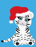 White tiger in Christmas hat. Vector image of a cute white tiger in Christmas hat Royalty Free Stock Image