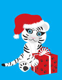 White tiger in Christmas hat. Vector image of a cute white tiger in Christmas hat Royalty Free Stock Photography