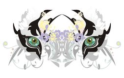 White tiger eyes with floral elements Stock Photography