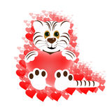 White tiger with heart Royalty Free Stock Photos