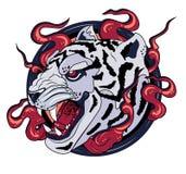 White tiger print logo stock illustration