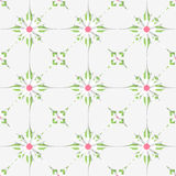 White tile ornament with pink and green Stock Photos