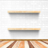 White tile room and wooden flooring with wooden shelf, Mock up f. Or display of product Royalty Free Stock Images