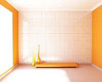 White tiled and orange walls. Royalty Free Stock Photos