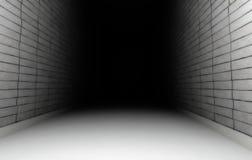Empty dark white tiled room. White tiled walls in a long narrow room Stock Photo