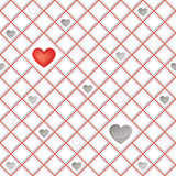 White tiles texture with  hearts, seamless square background Stock Photos