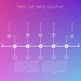 White timeline on blurred colored background. Displays time inte Royalty Free Stock Images