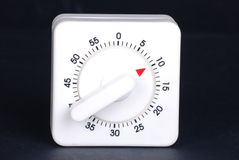 White timer. Set with 10 minutes to go on black background Royalty Free Stock Photos