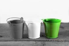 White tin buckets Royalty Free Stock Image