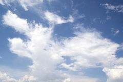 White tiny cloud on blue sky as background royalty free stock photography