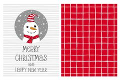 Cute Hand Drawn Merry Christmas and Happy New Year Vector Card and Pattern. Funny Snowman in a Gray Circle. vector illustration
