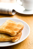 White toasted bread on plate Stock Photos