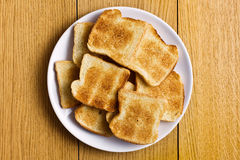 White toasted bread on plate Stock Photo