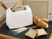 White toaster and bread Stock Photo