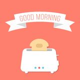 White toaster with ribbon and good morning. Inscription. isolated on stylish orange background. flat style design modern vector illustration Royalty Free Stock Photos