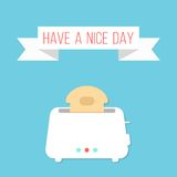 White toaster with ribbon and have a nice day. Inscription. isolated on stylish blue background. flat style design modern vector illustration Royalty Free Stock Photography
