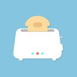 White toaster with shadow isolated on blue Stock Images