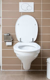 White toilet bowl in the bathroom Royalty Free Stock Photos