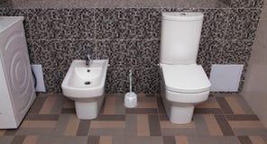 White toilet bowl and bidet Stock Photography