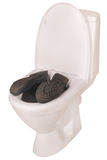 White toilet bowl and boots (Clipping path) Royalty Free Stock Image
