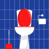White toilet bowl, brush for cleaning the toilet and toilet paper Stock Photography