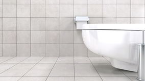 White toilet bowl in a modern bathroom Stock Images
