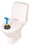 White toilet bowl and plunger (Clipping path) Stock Photo