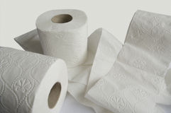 White toilet papers. Royalty Free Stock Photography