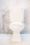 White toilet seat decoration in bathroom interior Stock Image