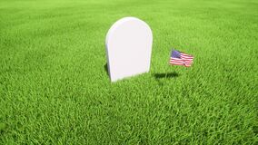 White Tombstone on grass. Day of Remembrance