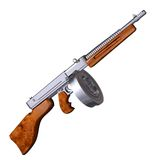 on white Tommy Gun Stock Images