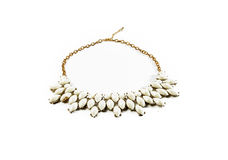 White tone gem necklace isolated Royalty Free Stock Photography