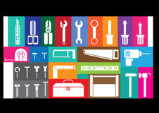White tool kits. On colorful frame background Stock Photography