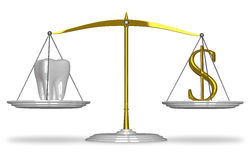 White tooth and dollar on scales Royalty Free Stock Photo