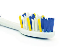 White toothbrush closeup. Isolated on white background Royalty Free Stock Photography