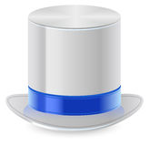 White top hat with blue ribbon Royalty Free Stock Photos