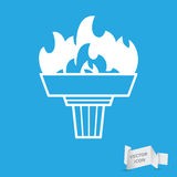 White torch icon with flame Stock Photos