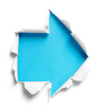 White torn paper with arrow shape Royalty Free Stock Images