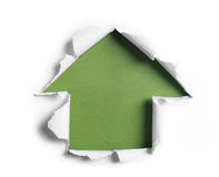 White torn paper with arrow shape Royalty Free Stock Photos