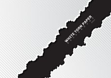 White torn paper edges with shadow and pattern diagonal lines texture on black background with copy space vector illustration