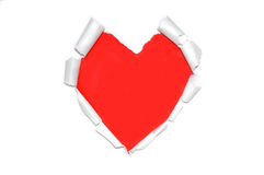 White torn paper in heart shape symbol over red Stock Photography