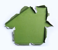 White torn paper with house shape Stock Photography