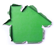White torn paper with house shape Royalty Free Stock Photo