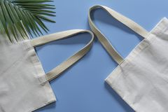 White tote bag canvas fabric. Cloth shopping sack mockup with copy space.  royalty free stock images