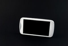 White touch screen mobile phone  on black background Stock Photos